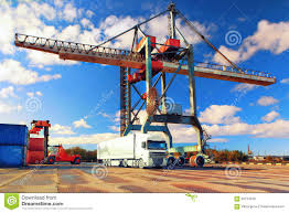 100 Harbor Freight Truck Crane Container And In The Port Stock Photo Image Of