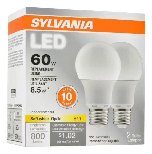 Sylvania Led Bulb - 8.5W, 2 Bulbs, 800 Lumens