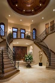 Foyer With Staircase Decorating Ideas Entry Mediterranean Wrought Iron Balustrade Railing