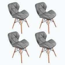 satz 4 stühle kunstleder mit holzbeinen für esszimmer büro grau 74cm
