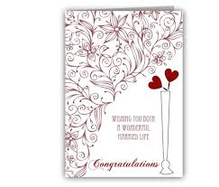 Wedding Greeting Card Rectangle Potrait White Brown Floral Pattern Congratulations Wonderful Married Life