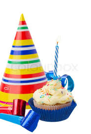 Birthday homemade cupcake with one burning candle on white background Stock