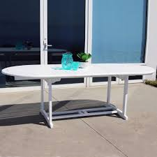 Vifah Bradley White Acacia Oval Extension Patio Dining Table