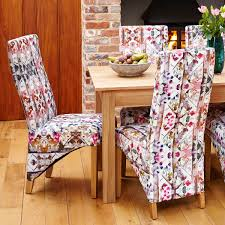 Fabric Dining Chairs With Coloured Floral Pattern (Pair) - Mobel Oak
