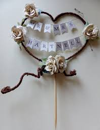 Mr And Mrs New Married Name Rustic Heart Cake Topper Personalised Bunting