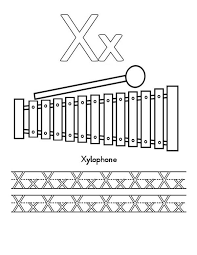 Letter X For Xylophone Worksheet Coloring Page