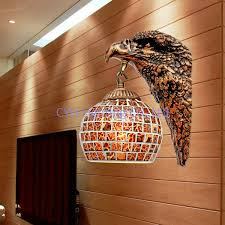 free shipping decorative eagle design wall l with mosaic glass