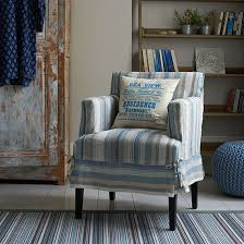 Blue Striped Living Room With Armchair