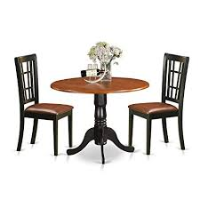 East West Furniture DLNI3 BCH LC 3 Piece Dining Table And 2 Solid Wood