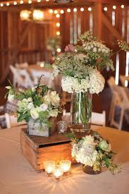 Rustic Barn Wedding Centerpieces Ideas With Flowers And Wooden Crates