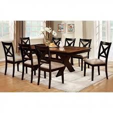 Liberta Transitional Dark Oak Black Dining Table Set