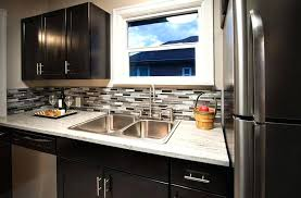 Dark Cabinets Small Kitchen Compact Contemporary With Light Granite Counter And Black