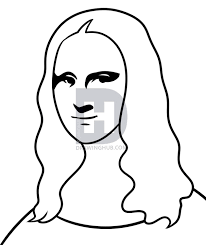 Description This Is The Line Art Now You Can Color In Your Simple Drawing Of Mona Lisa
