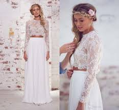 discount long sleeve two pieces wedding dresses 2015 women a line