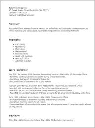 Resume Templates Accounts Officer