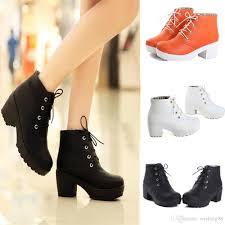 women u0027s round toe lace up chunky platform block heels oxford shoes