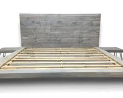 Floating Wood Platform Bed frame with Lighted