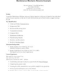 Resume For Maintenance Technician Industrial Mechanic Related Post Cover Letter Building