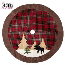 Plaid Tree Skirt With Trees Moose