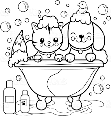 Dog And Cat Taking A Bath Coloring Page Royalty Free Stock Vector Art