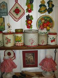 Vintage Kitchen Tins Chalk Ware Crochet Pot Holders All Nice Decor Items In