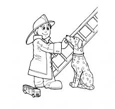 Fireman Fire Dog And Ladder Coloring Page Print Color