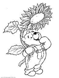 Winnie The Pooh Color Page Disney Coloring Pages Plate Sheetprintable Picture Looks Cute In Overalls