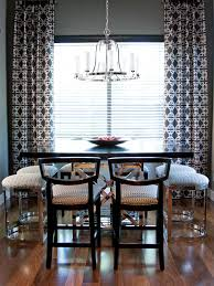 Preppy Contemporary Dining Room With Black And White Curtains