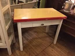 Vintage Enamel Top Draw Leaf Kitchen Table W Drawer 1940s