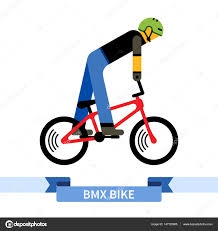 Bicyclist On Bmx Bike Simple Side View Clipart Drawing In Flat Color Isolated Bicycle Vector Illustration By Andriocolt