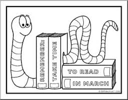 Coloring Page Reading Month Bookworm