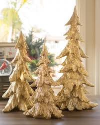 Golden Christmas Tabletop Trees Set Of 3 Main
