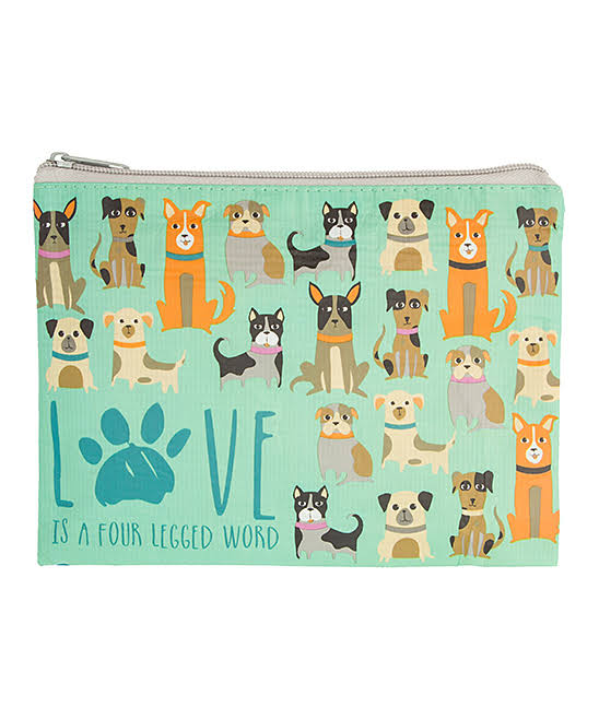 Karma Makeup Bags - Teal 'Love Is A Four Legged Word' Dog Cosmetic Bag