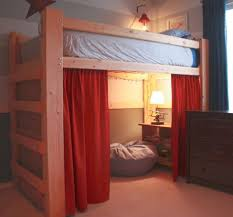 loft bed with stairs with curtains for the home