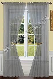 amazon com 2 piece solid grey gray sheer window curtains drape