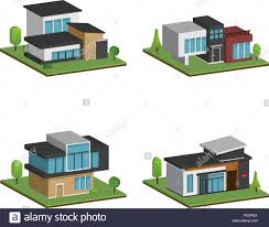 100 Www.modern House Designs Set Of Isometric Four Houses And Modern Houses Design 3D