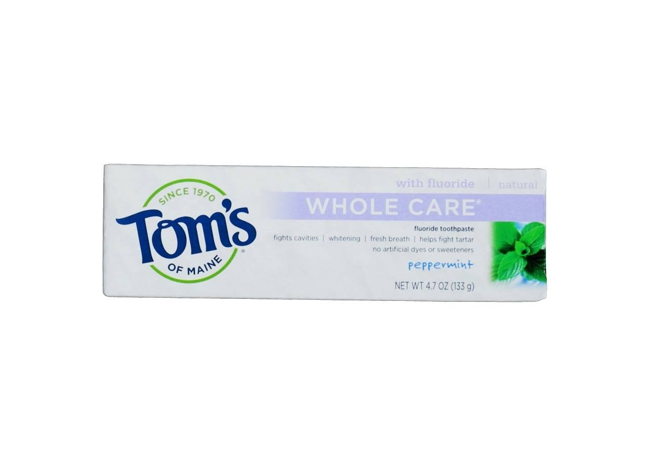 Tom's of Maine Whole Care Fluoride Toothpaste - Peppermint, 133g