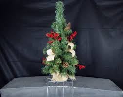 Woodland Christmas Tree Cemetery Flower Headstone Tombstone Saddle Grave Pillow With Pine Cones Red Berries Burlap Bows Decoration