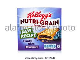 Kelloggs Blueberry Nutri Grain Fruit Breakfast Bar On A White