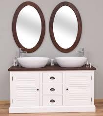 casa padrino landhausstil badezimmer set weiß dunkelbraun 1 doppelwaschtisch 2 wandspiegel massivholz badezimmermöbel im landhausstil