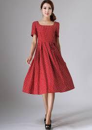 linen dress polka dot dress midi dress womens dresses red