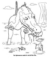 Spinosaurus Hunting The Fish In Dinosaur Coloring Page