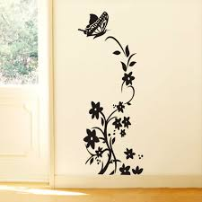 Black Or White Vine Flower Stickers Zooyoo8308 Fridge Non Toxic Wall Decals Vinyl Art 3d Mural Home Decor In From Garden