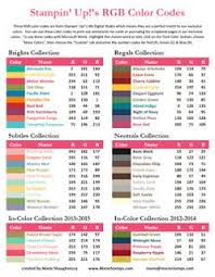 2013 2014 RGB HEX Color Code Charts To Print Using The Official