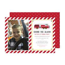 Firetruck Birthday Photo Invitations - Pink Poppy Party Shoppe, LLC