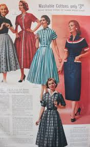 1957 Various Collar Treatments Prints And Patterns Create Diversity In 1950s Dress Styles