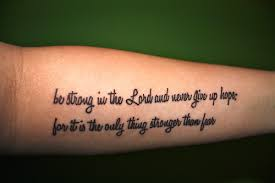 Beautiful Forearm Quote Tattoo Design