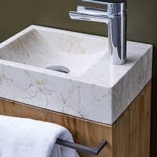 badunterschrank massives teakholz mit marmor waschbecken stelle creme