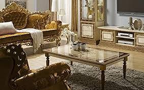 wohnzimmer tisch beige gold stilmöbel glanz barock