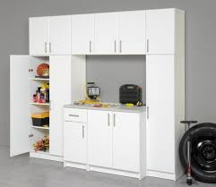 furniture white large garage cabinet with drawer placed on grey
